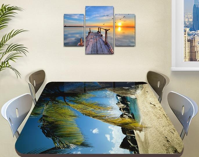 Виниловая наклейка на стол Пальмовые листья и камни самоклеющаяся пленка декоративная море зеленый 60 х 100 см