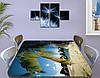Виниловая наклейка на стол Пальмовые листья и камни самоклеющаяся пленка декоративная море зеленый 60 х 100 см, фото 3