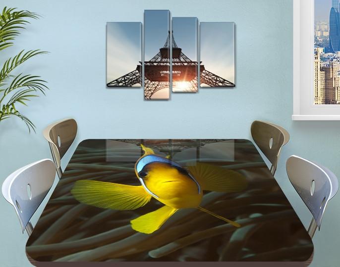 Виниловая наклейка на стол Желтая Рыба Тропическая декоративная пленка ламинация аквариум, желтый 60 х 100 см