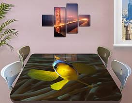 Виниловая наклейка на стол Желтая Рыба Тропическая декоративная пленка ламинация аквариум, желтый 60 х 100 см, фото 3