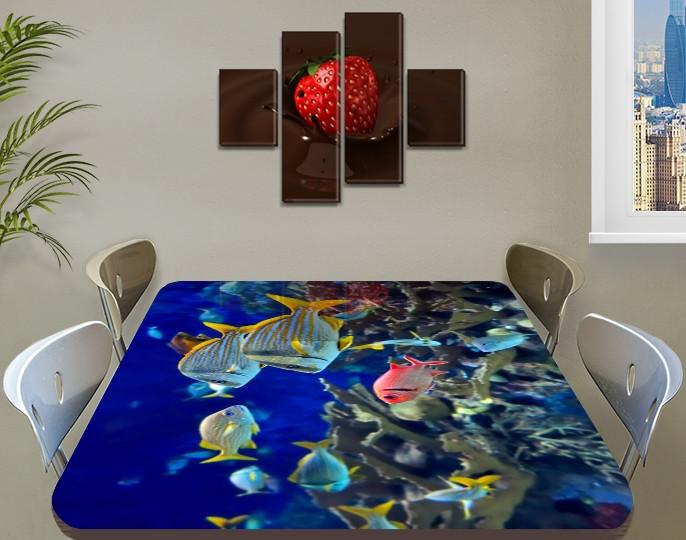 Виниловая наклейка на стол Морские рыбы в воде декоративная пленка с ламинацией аквариум, синий 60 х 100 см