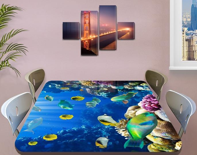Виниловая наклейка на стол Рифовые Рыбы Кораллы декоративная пленка с ламинацией аквариум, синий 60 х 100 см