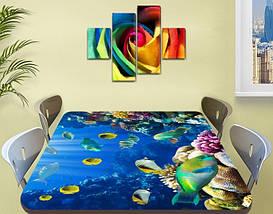 Виниловая наклейка на стол Рифовые Рыбы Кораллы декоративная пленка с ламинацией аквариум, синий 60 х 100 см, фото 2