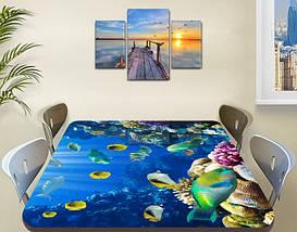Виниловая наклейка на стол Рифовые Рыбы Кораллы декоративная пленка с ламинацией аквариум, синий 60 х 100 см, фото 3