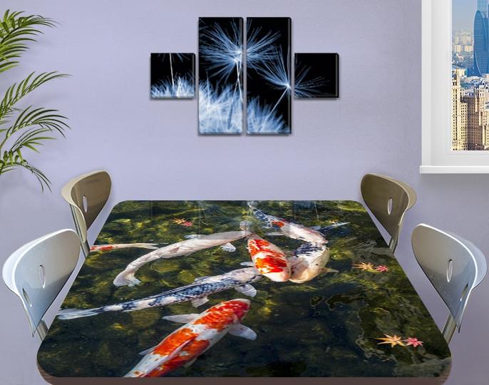 Виниловая наклейка на стол Карпы Кои в пруду декоративная пленка с ламинацией аквариум, зеленый 60 х 100 см