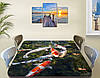 Виниловая наклейка на стол Карпы Кои в пруду декоративная пленка с ламинацией аквариум, зеленый 60 х 100 см, фото 3