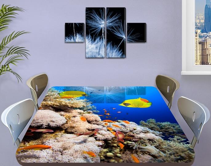 Виниловая наклейка на стол Желты рыбы и Кораллы декоративная пленка с ламинацией аквариум, синий 60 х 100 см