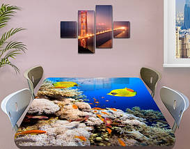Виниловая наклейка на стол Желты рыбы и Кораллы декоративная пленка с ламинацией аквариум, синий 60 х 100 см, фото 3