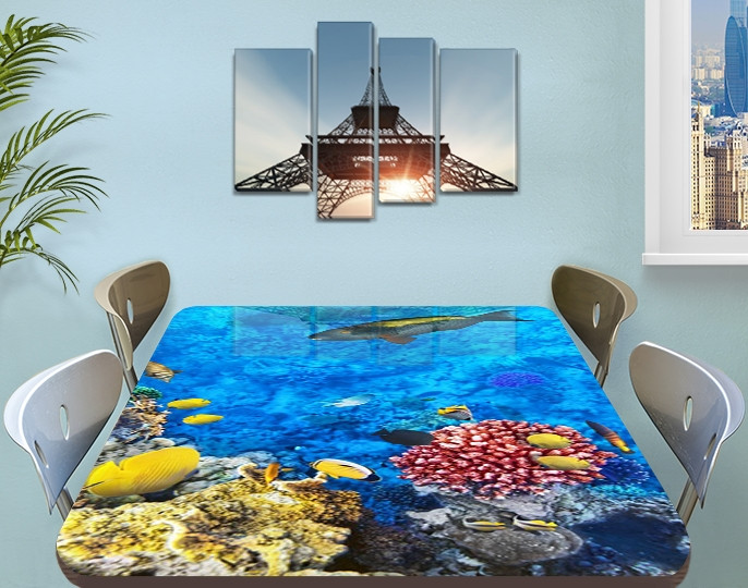 Виниловая наклейка на стол Рыбы и Кораллы декоративная пленка с ламинацией аквариум, голубой 60 х 100 см
