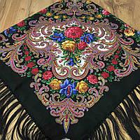 Павлопосадский хустку чорного кольору (120х120см,чорний, 80%-шерсть), фото 1