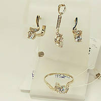 Серебряный комплект Нежность серьги, кольцо 19,5, подвес