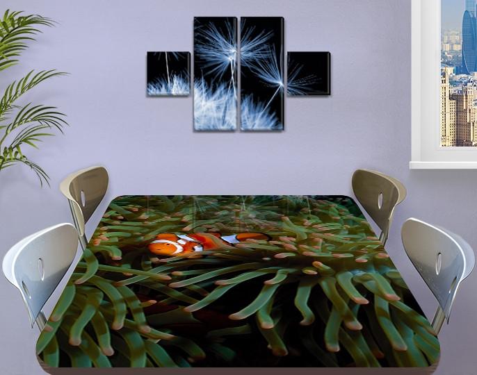 Виниловая наклейка на стол Рыбка Немо декоративная пленка с ламинацией аквариум, коричневый 60 х 100 см