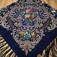 Павлопосадский платок (120х120см, синий, 80%-шерсть), фото 1