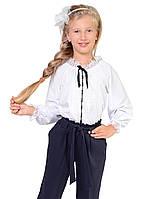 Ніжна і повітряна біла блуза з коротким рукавом виконана з тканини софт білий