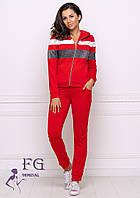 """Трикотажный красный женский спортивный костюм: кофта на молнии и штаны на манжетах """"Smash"""""""