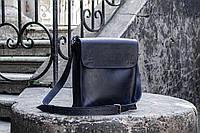 Мужская сумка планшетка, Синяя сумка через плечо мужская кожа, фото 1