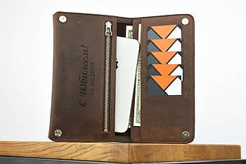 """Кожаный кошелек на купюру коричневого цвета """"travel case"""""""