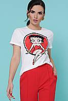 Женская белая футболка с модным рисунком