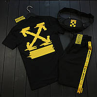 Мужской летний комплект Off White (офвайт) | футболка | шорты + подарок бананка! Цвет: черный.