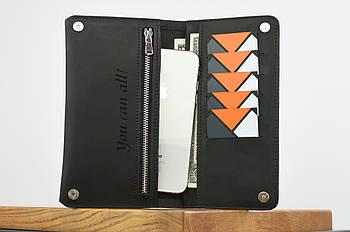 """Кожаный кошелек на купюру черного цвета """"travel case"""""""