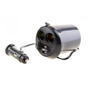 Подовжувач прикурювача 2+2USB (1000mA) виходи/запобіг (WF-0309)