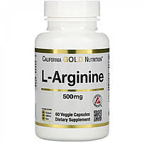 Аминокислоты California Gold Nutrition L-аргинин, AjiPure, 500mg, 60caps