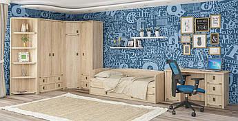 Кровать тапчан односпальная в детскую комнату из ДСП Валенсия Мебель Сервис + ламели