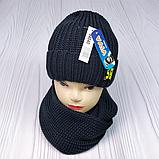"М 94040 Комплект для мальчика  шапка ""56"" на флисе и хомут, разние цвета, фото 5"
