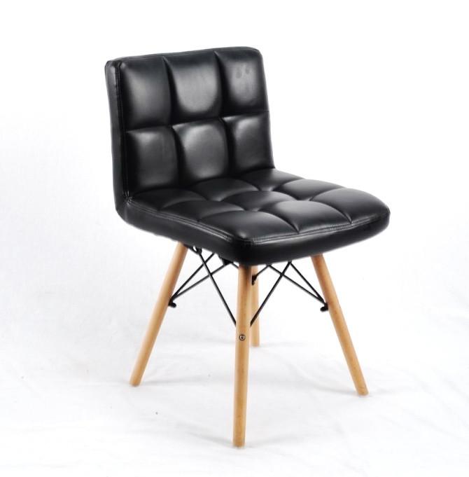 Обеденный мягкий стул Флекс FLEX ЭК черная экокожа с ножками из бука