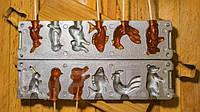 Форма алюминевая для леденцов и конфет «Зоопарк» (заяц, пингвин, крот, рыба, петушок, сурок)