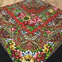 Павлопосадська хустина з яскравим орнаментом  та квітами (120х120см, 80%-шерсть), фото 1