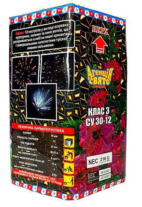 """Новогодний салют на 12 залпов """"Мальви"""". Новорічний Фейєрверк Калібр: 30мм. Фейерверк СУ30-12, фото 2"""