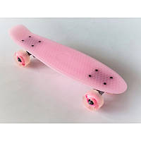 Пенни борд Penny Board 220 со светящимися колесами | Светло Розовый