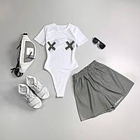 Молодежный светоотражающий костюм светящийся в темноте белый боди и рефлективные шорты