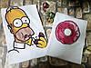 """Парные футболки """"Гомер и пончик"""""""