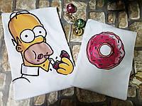 """Парные футболки """"Гомер и пончик"""", фото 1"""