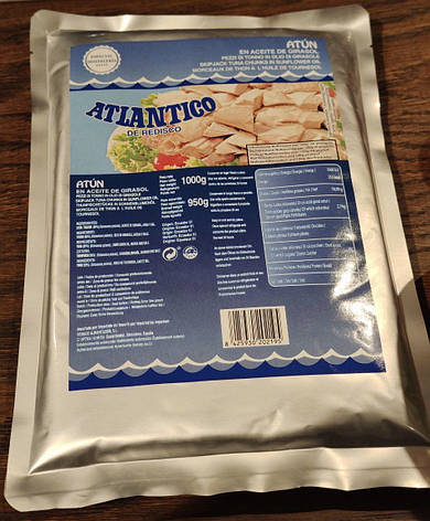 Тунець Atlantico Atun Claro 1000/950 г (пакет), фото 2