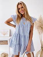 Женское летнее короткое свободное в полоску платье с коттона голубое серое натуральное 42-46