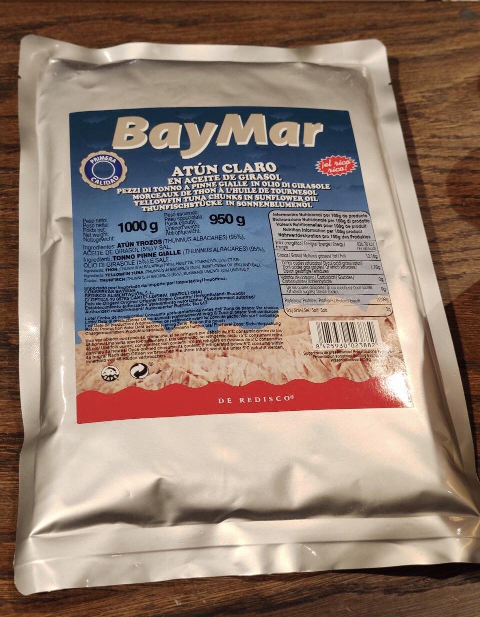 Тунець в олії BayMar ATUN CLARO  (шматки) 1000/950 г (пакет)