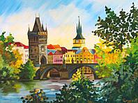 """Полотно на картоні з контуром, Міста """"Прага"""", 30*40, бавовна, акрил, ROSA START"""