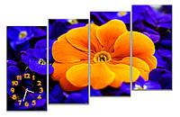 Красивые Часы картина модульная для декора дома Большой оранжевый цветок 30x65 30x65 30x65 30x65 см