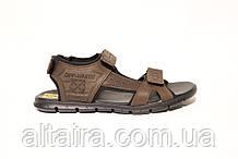 Мужские кожаные  сандалии коричневого цвета в спортивном стиле. ANDANTE. Размеры 40-45.