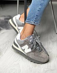 Подростковые кроссовки New Balance 574  Dark Grey / White