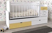 Дитяче ліжко Art-In-Head ДЛ-21 Лелека Білий+Лимон 1732х1050х732