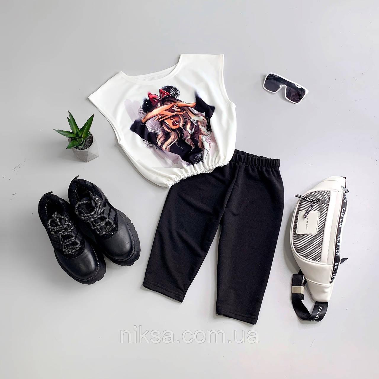 Молодежный спортивный костюм укороченная футболка с принтом и велосипедки