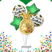 Набор фольгированных воздушных шаров АНАНАС упаковка 5 шт.