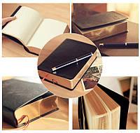 Черный кожаный блокнот-дневник Believe Gold с белыми листами и золотым срезом 12,5х17.6 см на подарок Унисекс