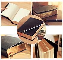 Чорний шкіряний блокнот-щоденник Believe Gold з білими аркушами і золотим зрізом щільні порожні сторінки,