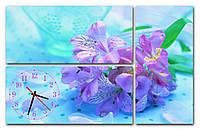 Изумрудные  Часы картина модульная для декора дома Сиреневая лилия 30x67 30x67 30x62 см