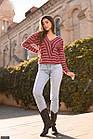 Светр жіночий бордо трикотаж смужка травичка великого розміру 56-60, фото 5
